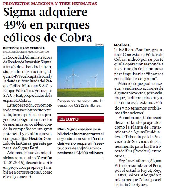 Sigma adquiere 49% en parques eólicos de Cobra
