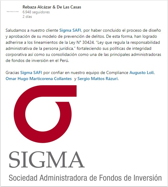 Sigma SAFI aprobó el Modelo de Prevención de Delitos, acorde a los lineamientos de la Ley N°30424.