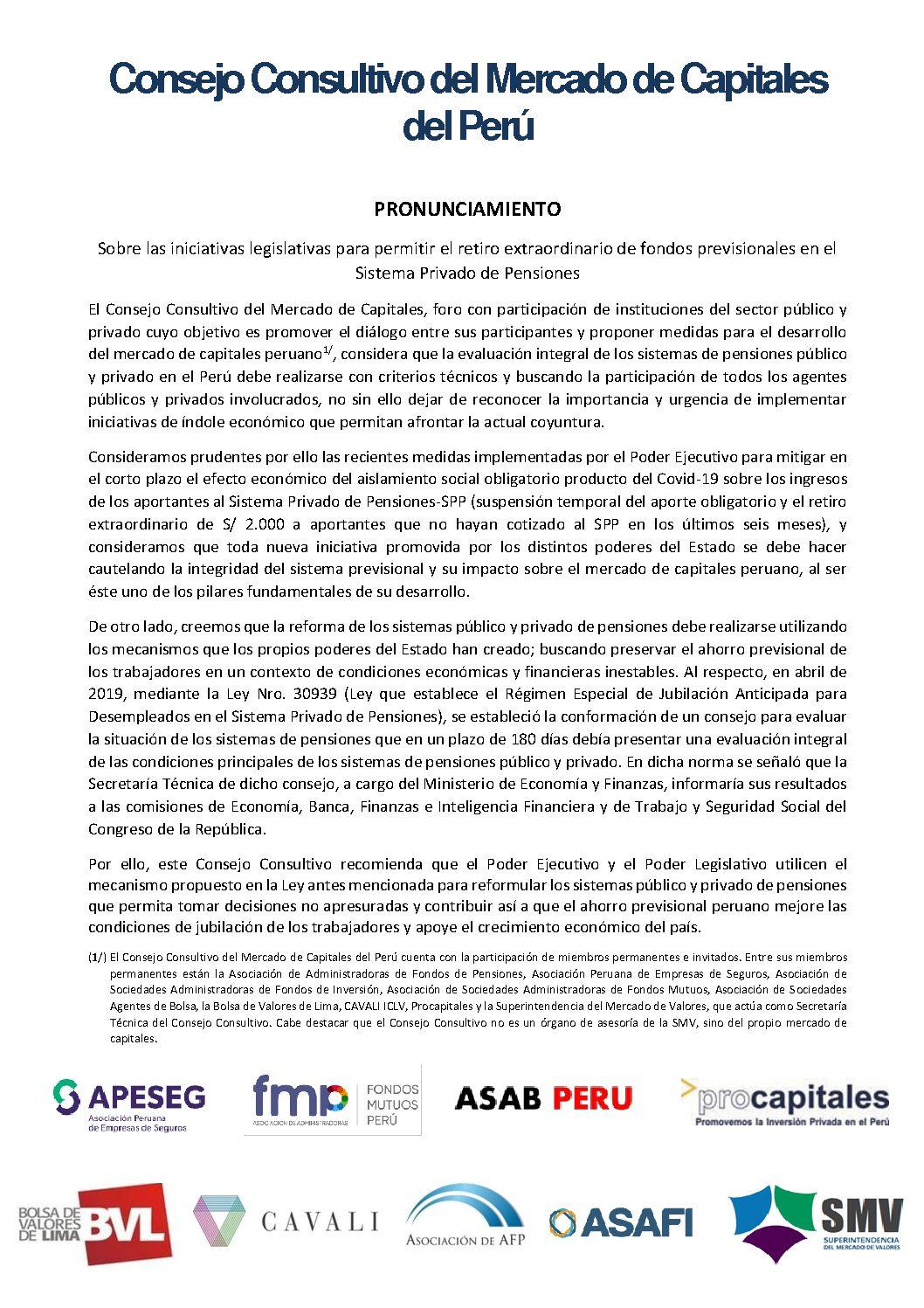 Pronunciamiento del Consejo Consultivo del Mercado de Capitales del Perú