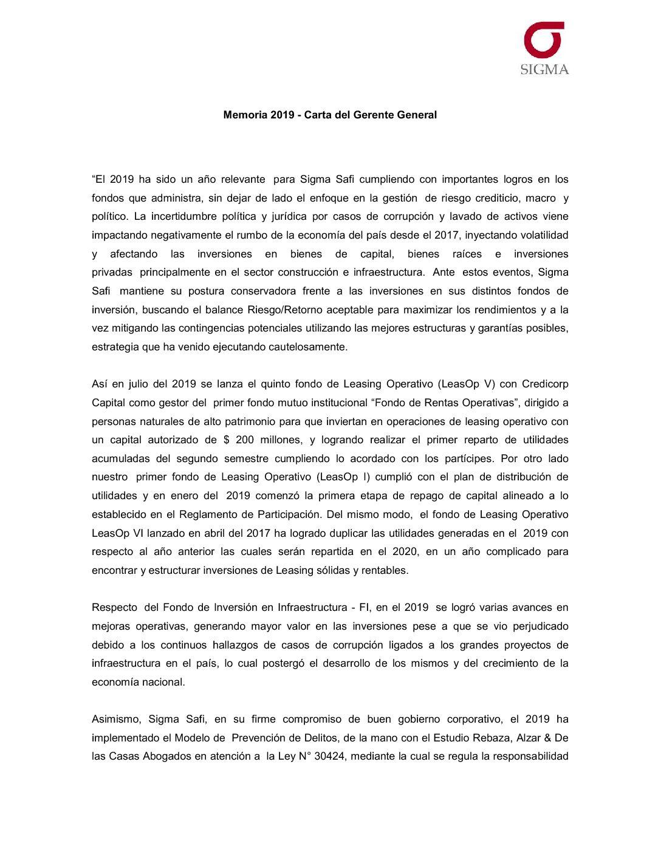 Memoria 2019 – Carta del Gerente General