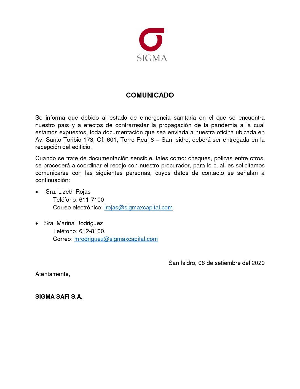Comunicado Safi – SMV